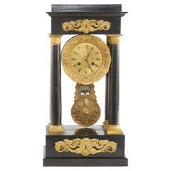 French Empire Portico Black / Bronze Table Clock