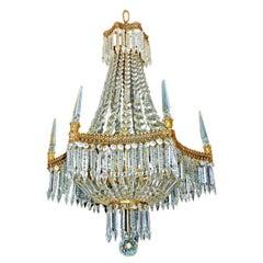French Empire Regency Baccarat Style 6 Crystal Obelisks Basket Bronze Chandelier