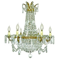 French Empire Regency Crystal and Gilt Bronze 12-Light Wedding Cake Chandelier