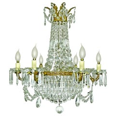 French Empire Regency Crystal and Gilt Bronze 12-Light Wedding Cake Chandelier