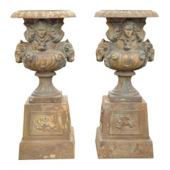 French Large Cast Iron Rams Head Garden Urn Planters, a Pair