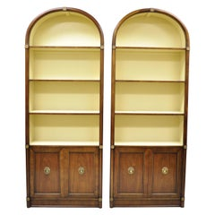 French Empire Regency Tall Arched Dome Walnut Etagere Curio Cabinets, a Pair