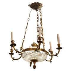 French Empire Revival Style Chandelier With Crystal Inserts