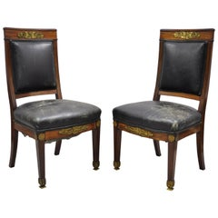 French Empire Solid Mahogany Regency Side Chairs Figural Bronze Ormolu, a Pair