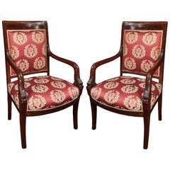 French Empire Style Mid-19th Century Mahogany His & Hers, Armchairs