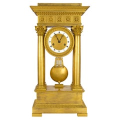 French Empire Style Mid-19th Century Ormolu Clock, Signed 'petit a Paris'