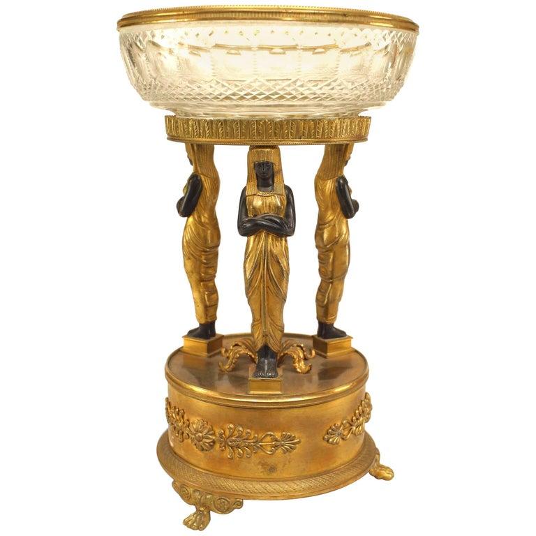 French Empire Style, 19th Century Bronze Dore Compote For Sale