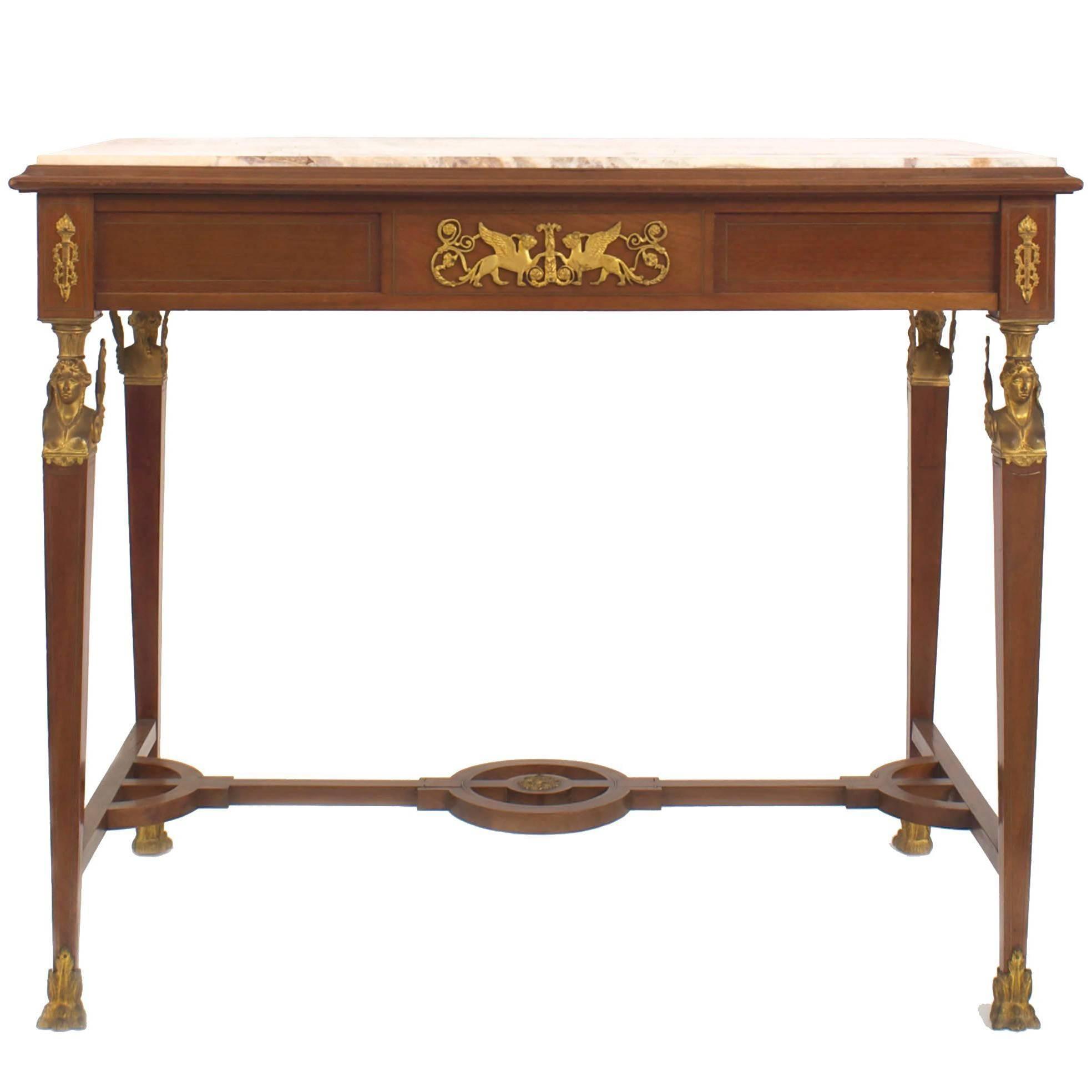 French Empire Style Mahogany Center Table