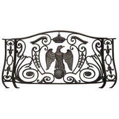 French Empire Style 19th Century Iron and Bronze Trimmed Railing Napoleon III