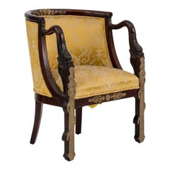 French Empire Style 19th Century Mahogany Round Back Dolphin Armchair