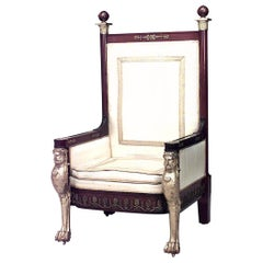 French Empire Style '19th Century' Mahogany Throne Chair