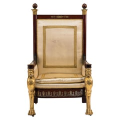 French Empire Style 19th Century Mahogany Throne Chair