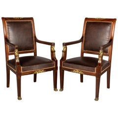 French Empire Style Armchairs, a Pair