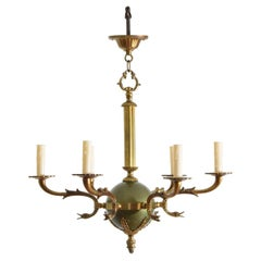 French Empire Style Brass and Enamel 5-Light Chandelier, Early 20th Century