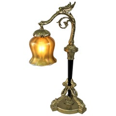 French Empire Style Bronze and Art Glass Table Lamp
