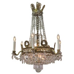 French Empire Style Bronze and Crystal Chandelier