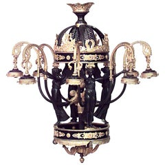 French Empire Style Bronze and Dore Trim Eight-Scroll Arm Chandelier