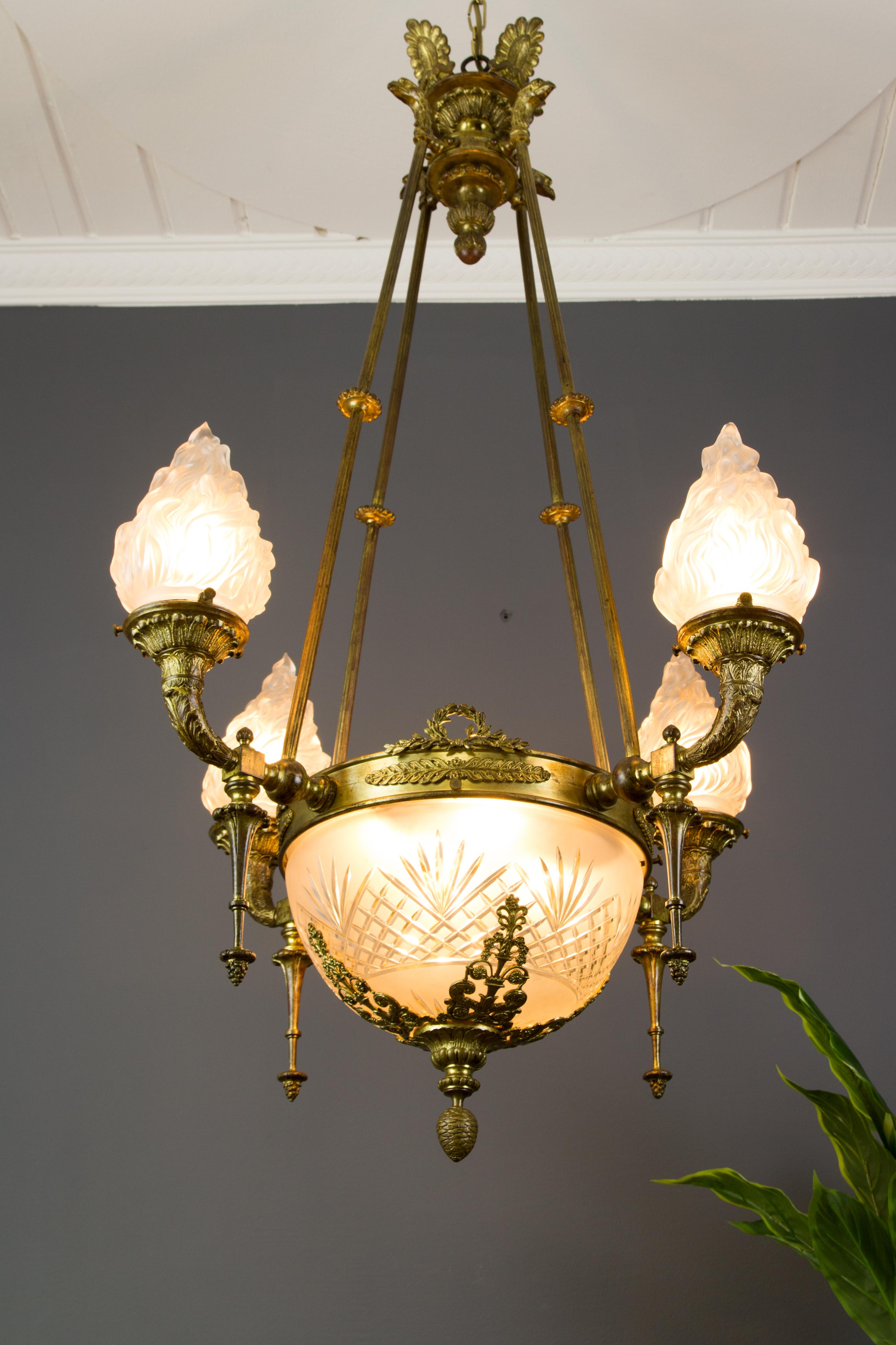 Antique Gilt Bronze and Frosted Glass Chandelier, 1920s