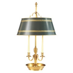 French Empire Style Bronze and Tole Bouillotte Lamp, circa 1970s