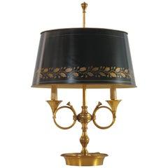 French Empire Style Bronze and Tole Bouillotte Lamp, circa 1970s