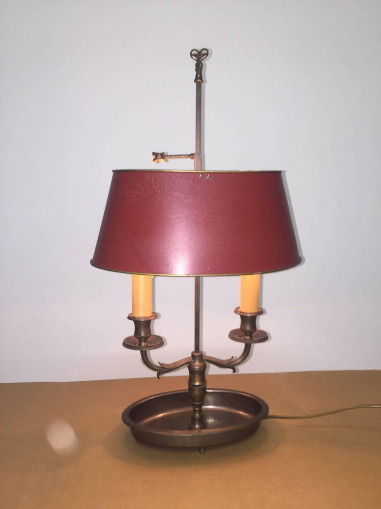 French Empire Style Bronze and Tole Bouillotte Lamp For Sale 1