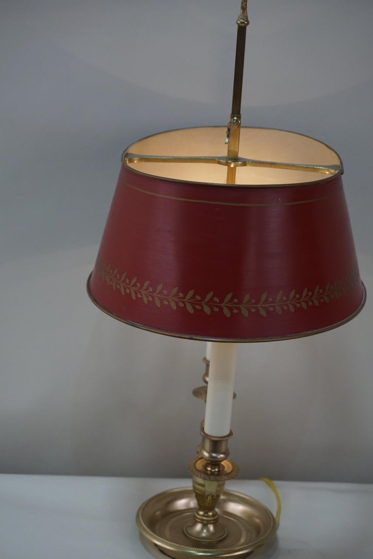 French Empire Style Bronze Bouillotte Table Lamp For Sale 2