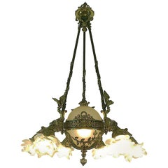 French Empire Style Bronze Chandelier with Frosted Glass Shades Seven-Light 1980