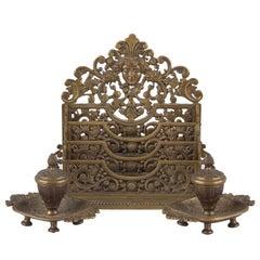 French Empire Style Bronze Desk Garniture, Late 1800s