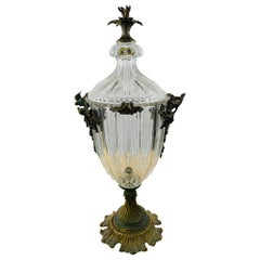French Empire Style Bronze Mounted Cut Crystal Lidded Urn or Vase