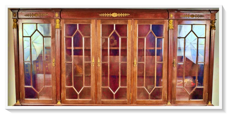 Hand-Crafted French Empire Style Cabinet 19th-20th Century Mahogany Wood For Sale