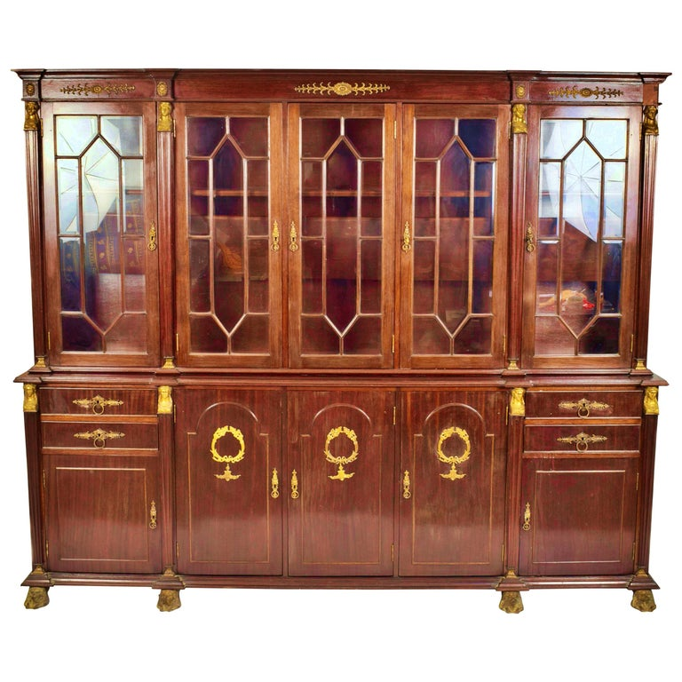 French Empire Style Cabinet 19th-20th Century Mahogany Wood For Sale