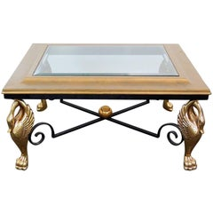 Square French Empire Brass Swans and Wrought Iron Coffee Table