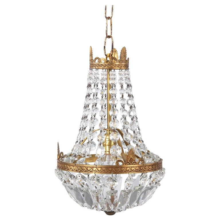 "French Empire Style Crystal and Brass ""Montgolfier"" Chandelier, 1920s For Sale"