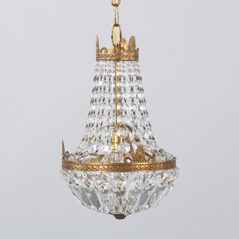 French Empire Style Crystal and Brass