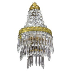 French Empire Style Crystal and Brass Sconce Wall Light, 1930s