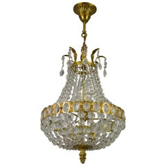French Empire Style Crystal Glass and Four-Light Basket-Shaped Chandelier