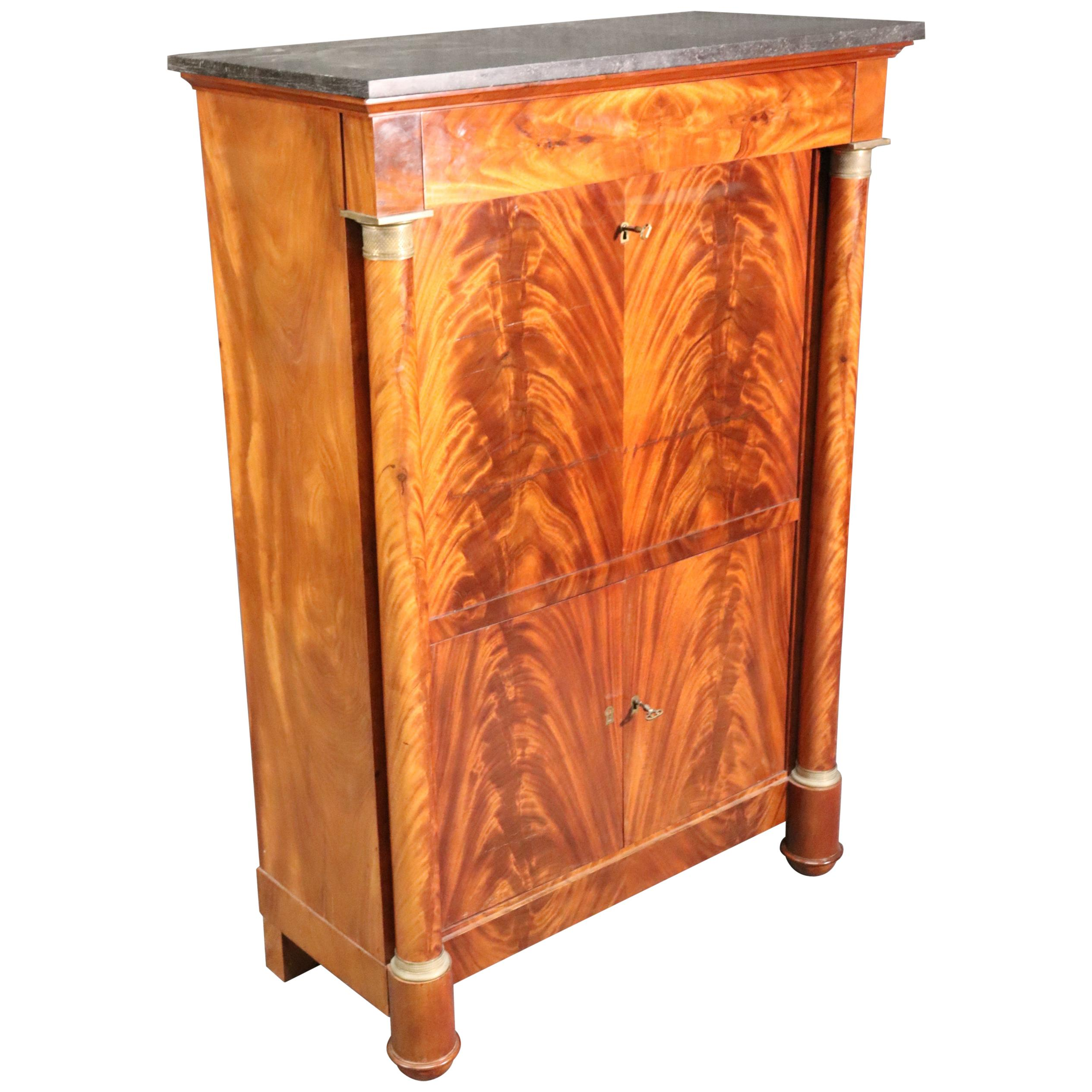 French Empire Style Flame Mahogany Secretaire A'abttant Desk C1930