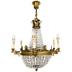 French Empire Style Fourteen-Light Crystal and Bronze Basket Chandelier