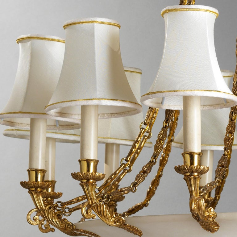 Italian French Empire Style Gilt Bronze and Alabaster Chandelier For Sale