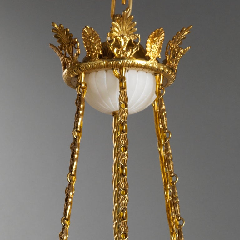 French Empire Style Gilt Bronze and Alabaster Chandelier In New Condition For Sale In Florence, Tuscany