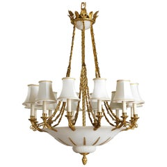 French Empire Style Bronze and Alabaster Chandelier by Gherardo Degli Albizzi