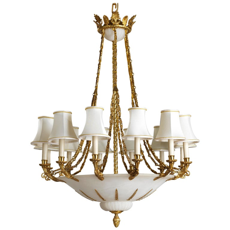 French Empire Style Gilt Bronze and Alabaster Chandelier For Sale