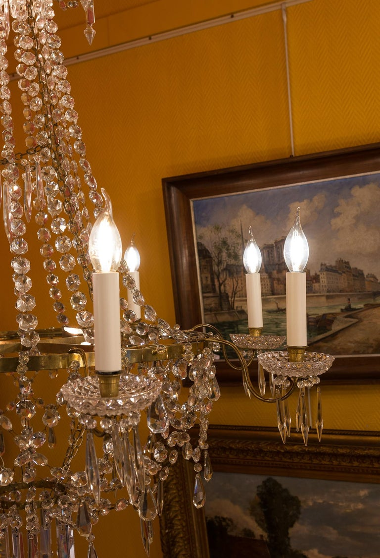French Empire Style, Gilt Bronze and Baccarat Crystal Chandelier, circa 1890 For Sale 6