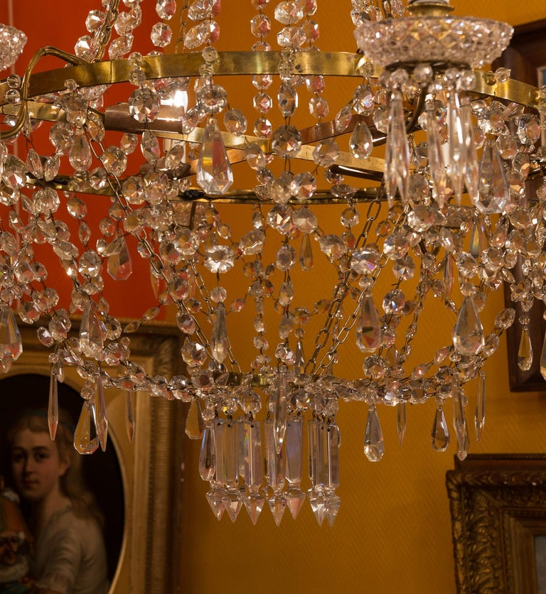 French Empire Style, Gilt Bronze and Baccarat Crystal Chandelier, circa 1890 For Sale 7