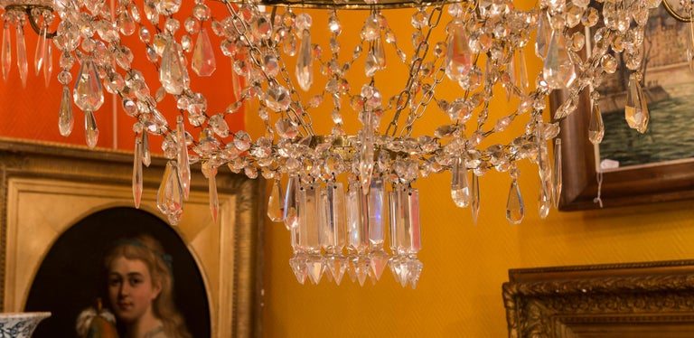 French Empire Style, Gilt Bronze and Baccarat Crystal Chandelier, circa 1890 For Sale 8