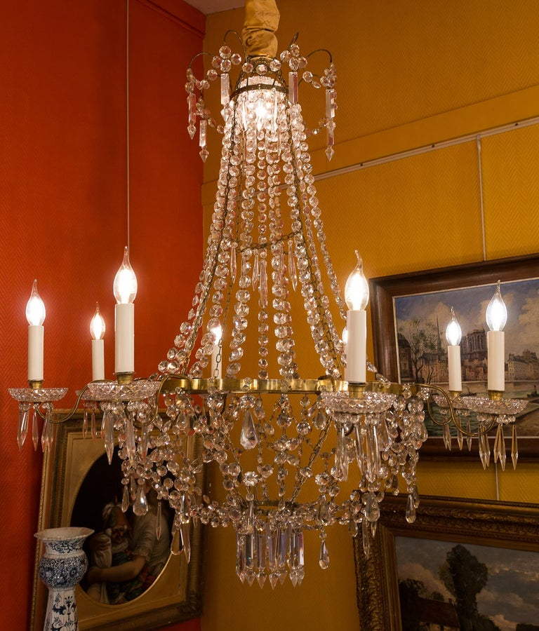 French Empire Style, Gilt Bronze and Baccarat Crystal Chandelier, circa 1890 For Sale 9