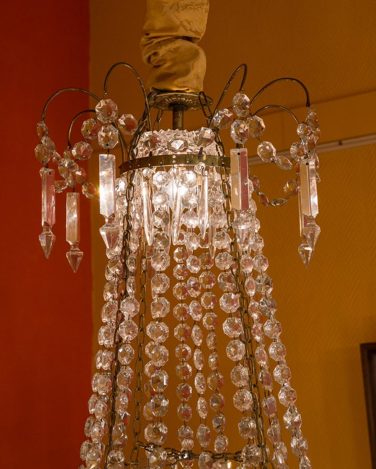 French Empire Style, Gilt Bronze and Baccarat Crystal Chandelier, circa 1890 In Good Condition For Sale In Saint Ouen, FR