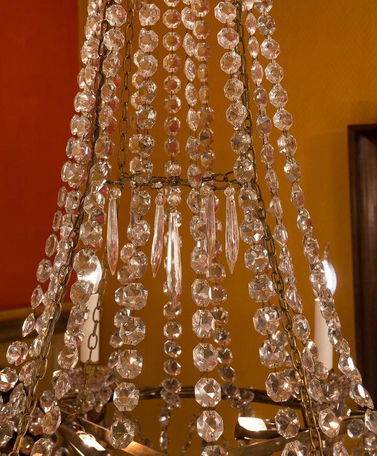 19th Century French Empire Style, Gilt Bronze and Baccarat Crystal Chandelier, circa 1890 For Sale