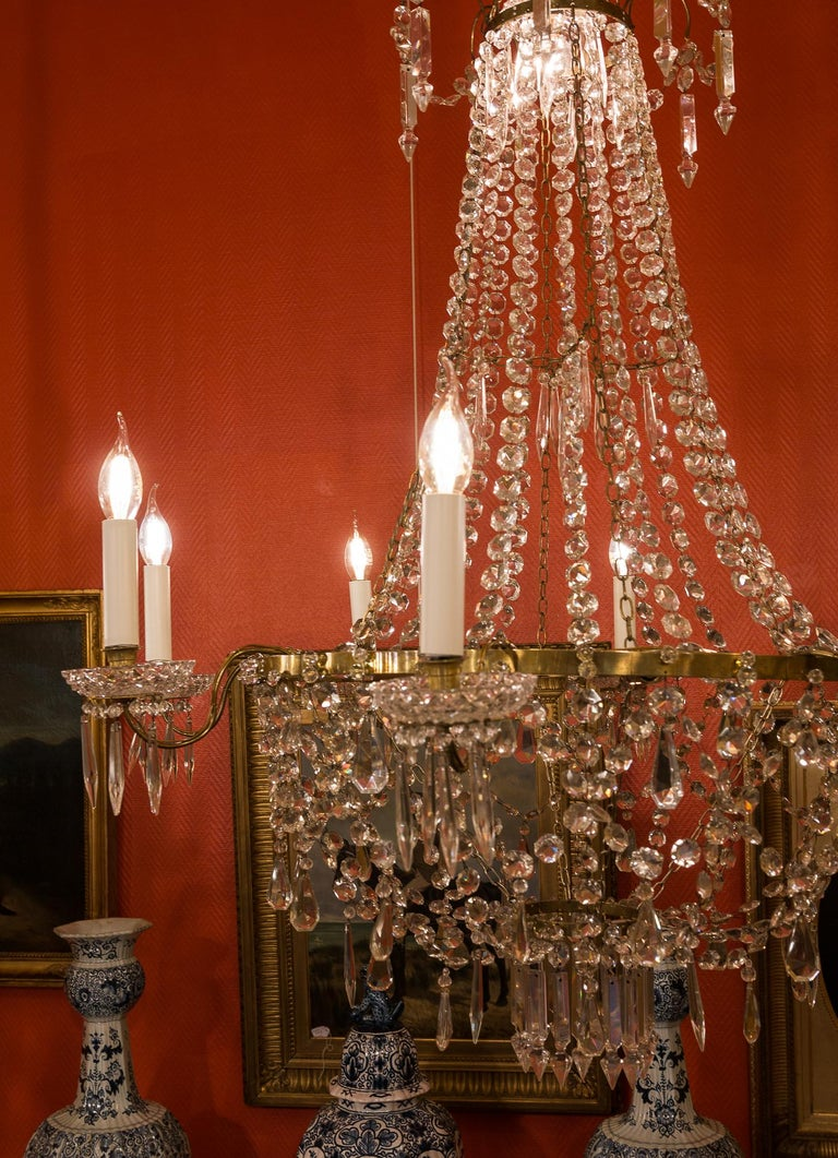 French Empire Style, Gilt Bronze and Baccarat Crystal Chandelier, circa 1890 For Sale 1
