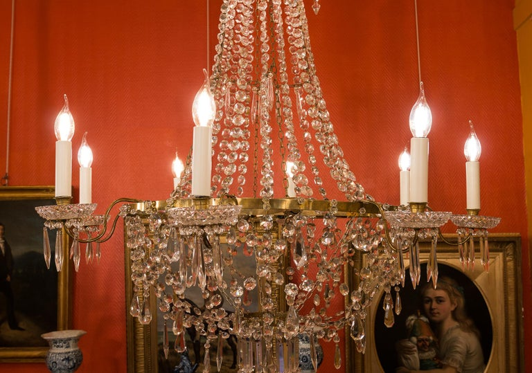 French Empire Style, Gilt Bronze and Baccarat Crystal Chandelier, circa 1890 For Sale 2